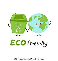 Cute happy trash bin and Earth planet