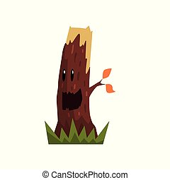 Cute happy tree stump character with funny face vector Illustration on a white background