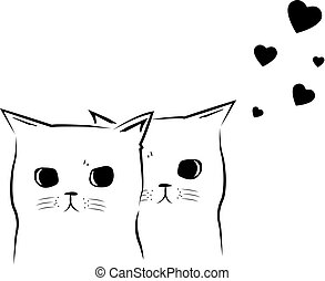 Cute Happy valentine's day card with cats in love