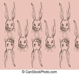 Cute hare, rabbit sketch vector illustration.