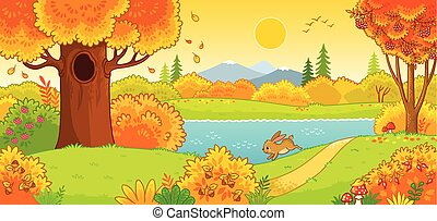 Cute hare running through the autumn forest. Vector ...