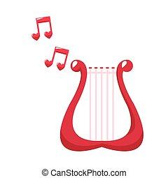 cute, harpa, encantador, nota, música