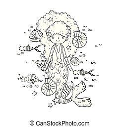 cute, havfrue, algen, hav, under
