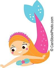 cute, havfrue, svømning