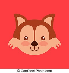 cute head animal isolated icon