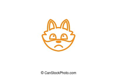 cute head face fox line sad logo icon vector