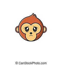 Cute Head Monkey Mascot