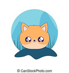 cute head of fox baby animal kawaii