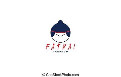 cute head sumo icon logo design modern