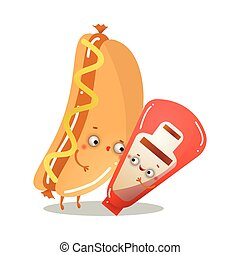 Cute healthy hot dog character is dancing tango with tomato ketchup