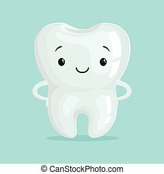 Cute healthy white cartoon tooth character, childrens...