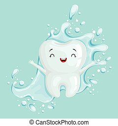Cute healthy white cartoon tooth character with mouthwash, oral dental hygiene, childrens dentistry concept vector Illustration
