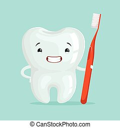 Cute healthy white cartoon tooth character with red...