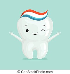 Cute healthy white cartoon tooth character with toothpaste, childrens dentistry concept vector Illustration