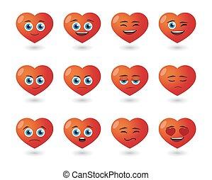 cute heart  avatar expression set