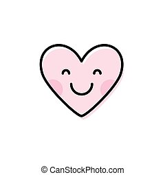 Cute heart emoji. Smiling face icon