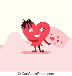 cute heart female in the desert character