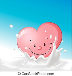 cute heart in splash milk illustration - vector cartoon