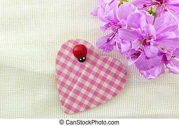 Cute heart shape with pink flowers