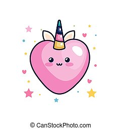 cute heart unicorn fantasy kawaii style