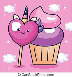cute heart unicorn kawaii style with cupcake