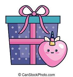 cute heart unicorn kawaii style with gift box