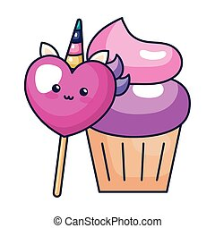 cute heart unicorn with cupcake kawaii style