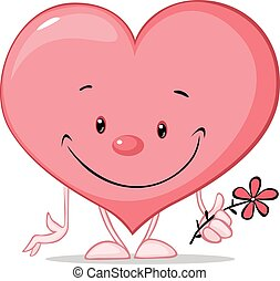 cute heart valentine hold flower illustration - vector cartoon