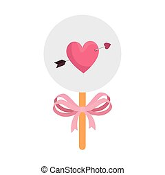 cute heart with arrow in stick isolated icon