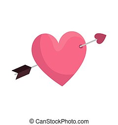 cute heart with arrow isolated icon