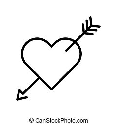 cute heart with arrow line style isolated icon