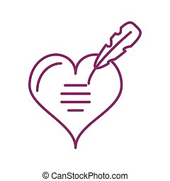 cute heart with feather, line style icon