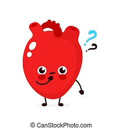 Cute heart with question mark character