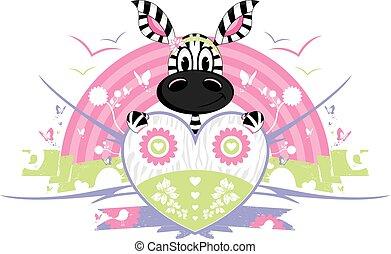 Cute Heart Zebra