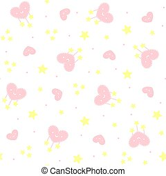cute hearts and stars seamles