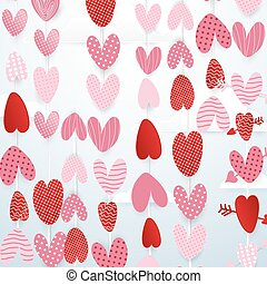 Cute hearts hang in the sky valentines day concept background. paper art and cut, origami style