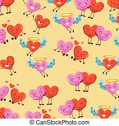 cute hearts kawaii cartoon love romantic pattern