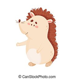 Cute Hedgehog Character Walking in the Forest Vector Illustration