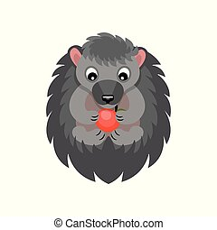 Cute hedgehog eating red apple, sweet gray animal cartoon character vector Illustration on a white background