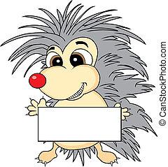 Cute hedgehog holding a blank sign