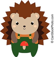 Cute hedgehog in green jumpsuit. Cartoon kawaii animal character. Vector illustration for kids and babies fashion