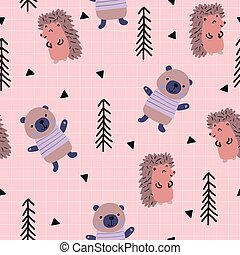 cute, hedgehog., padrão, bosque, seamless, urso, escandinavo