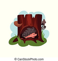 Cute hedgehog sleeping in hollow of tree, hollowed out old tree and funny animal inside vector Illustration i on a white background