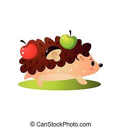 Cute hedgehog take green, red apple and mushroom