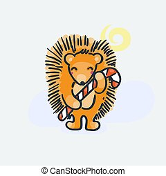 Cute hedgehog with candy. Cartoon hand drawn vector illustration