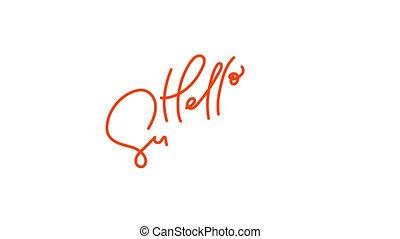 Cute Hello summer logo hand drawn monoline lettering ...