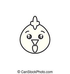 cute hen animal farm line style icon