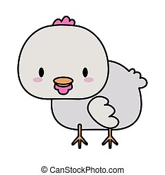 cute hen baby kawaii, line and fill style icon