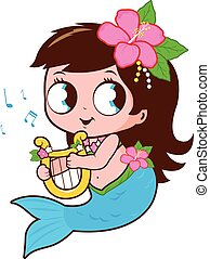 cute, hende, lyre, musik, spille, havfrue