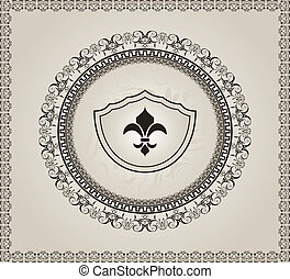 cute, heraldic, fundo, elemento